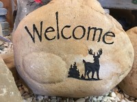 Pre-Carved Welcome Rock with Deer - Product Image