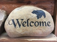 Pre-Carved Welcome Rock with Bear - Product Image